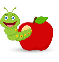 Cute worm cartoon in the apple vector