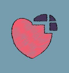 Flat shading style icon heart disease vector