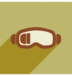 Flat web icon with long shadow ski goggles vector