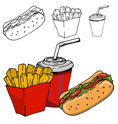 French fries soda hot dog isolated vector