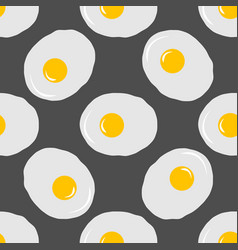 fried eggs seamless pattern on grey background vector image vector image