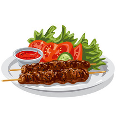 grilled hot kebabs vector image vector image