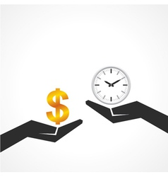 Hand hold dollar and clock symbol to compare vector image