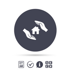 house insurance sign icon hands protect cover vector image vector image