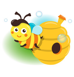 Isolated bee and beehive vector