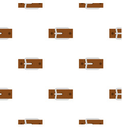 Leather belt with silver buckle pattern flat vector