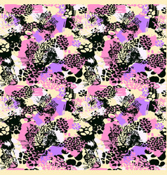 Leopard exotic cat seamless pattern vector