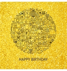 Line happy birthday gold concept vector