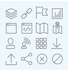 linear icons set vector image vector image