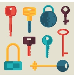 Locks and keys icons set in flat style vector image vector image