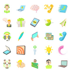 Mobile telecommunications icons set cartoon style vector