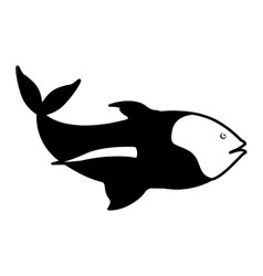 Monochrome silhouette with sea fish with tail up vector
