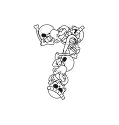 Number 7 skeleton bones font seven anatomy of an vector