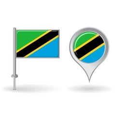 Tanzanian pin icon and map pointer flag vector