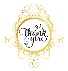 thank you text with round gold frame on background vector image