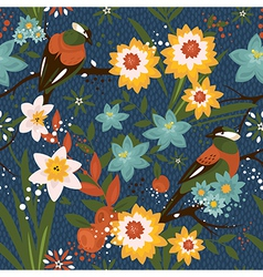 Vintage seamless floral pattern with birds vector image