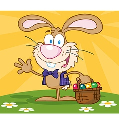 Happy easter bunny carrying a basket of eggs vector