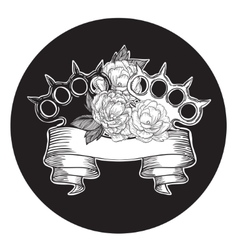 Brass knuckles in roses old school tattoo style vector