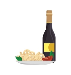 Macaroni gourmet plate with wine vector