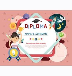 Certificate kids diploma kindergarten template vector