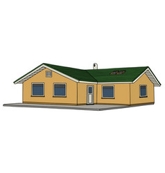 Yellow small bungalow vector