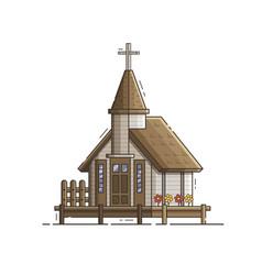 Wooden stilt church on pier vector