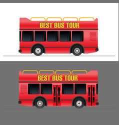 Red touristic bus set vector