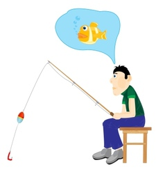 Men thinking about fishing vector
