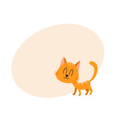 Cute funny sweet red cat character eyes closed vector