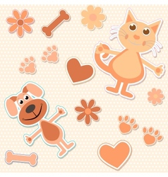 Seamless background with cats dogs and heart vector