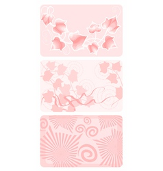 Three elegant gift cards with ivy patterns vector
