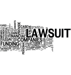 Lawsuit loan companies text background word cloud vector
