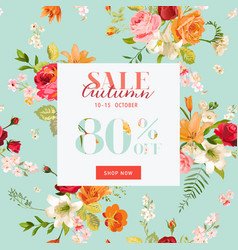 Autumn sale floral banner fall discount vector