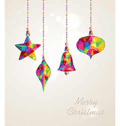 Merry Christmas multicolors hanging baubles vector image
