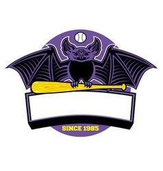 bat baseball mascot vector image