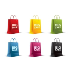 Paper bags on white  isolated colored vector
