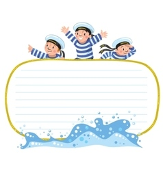 Banner or card with happy sailors vector