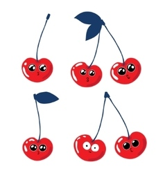 Set of funny cherries on a white background vector