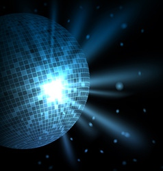 Blue background with disco ball vector