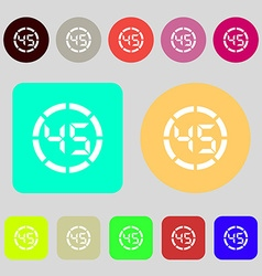 45 second stopwatch icon sign 12 colored buttons vector