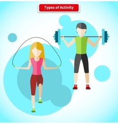 Types of activity people icon flat design vector