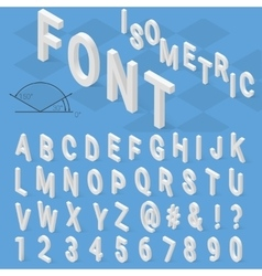 Isometric font alphabet with drop shadow on blue vector image