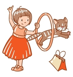 Girl playing with cat vector
