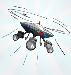 Hand drawn cartoon of flying drone vector image