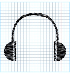 Headphones icon with pen effect on paper vector