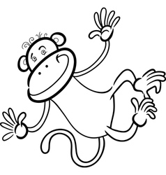Funny monkey for coloring book vector