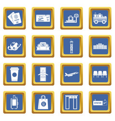Airport icons set blue vector