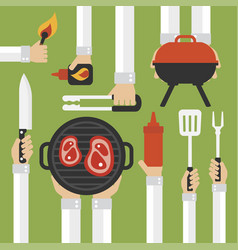 Barbecue and grill modern design flat with vector