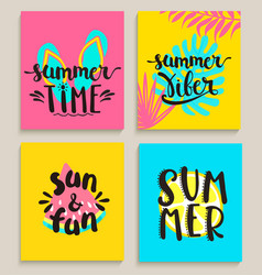 Bright summer cards vector