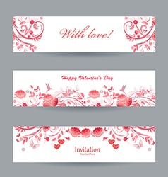 Collection of beautiful romantic banners pink vector image vector image